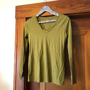 Loft green long sleeve round neck cotton modal